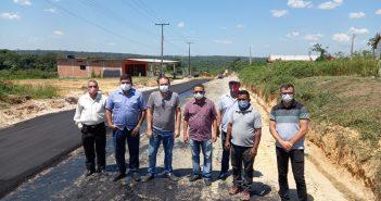 Início da aplicação da massa asfáltica entre os bairros Residencial Sebastião Ferreira da Costa até o Bairro da Paz